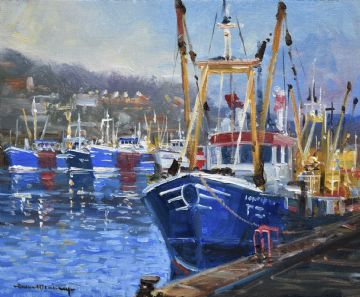 Richard Blowey Original Oil Painting Cornish Harbour Scene